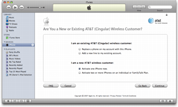 iTunes on Mac OS X: Apple iPhone: Existing AT&T/Cingular customer?
