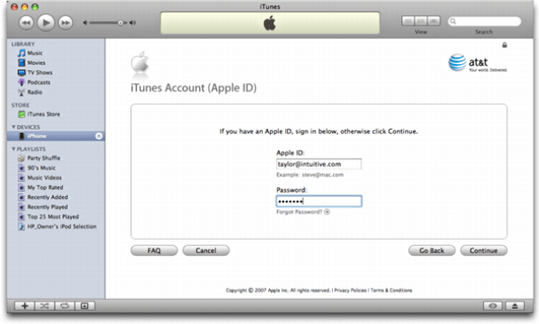 iTunes on Mac OS X: Apple iPhone: Set up an iTunes Account