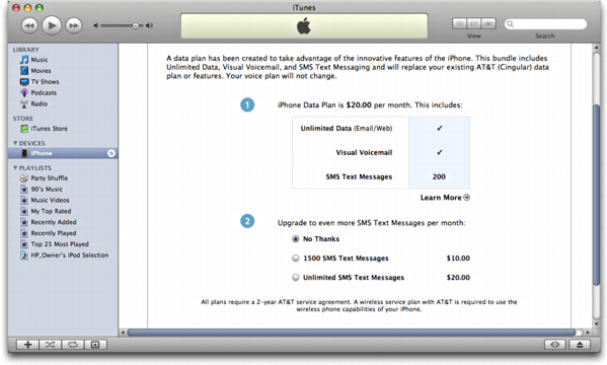 iTunes on Mac OS X: Apple iPhone: Available Service Plans from ATT
