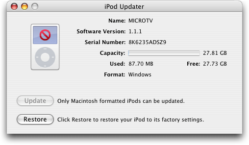 Apple iTunes: iPod Updater