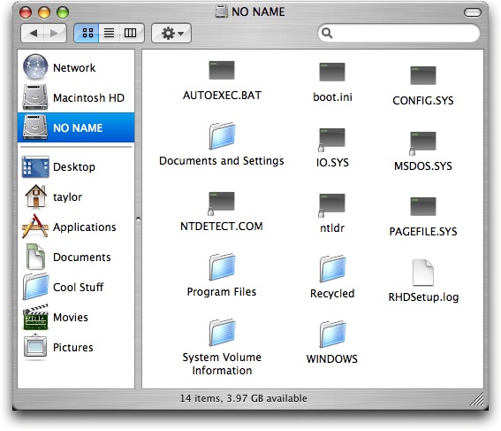 Mac Boot Camp, in Mac OS X FInder