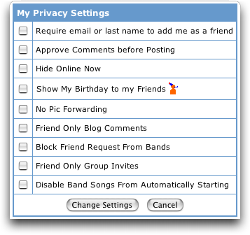 MySpace: Change Account Settings: Privacy