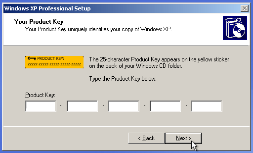 Parallels - Enter Windows XP Product Key