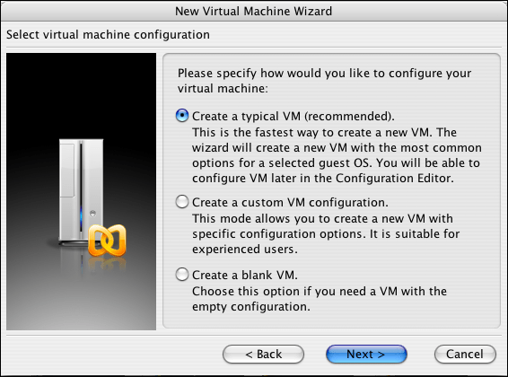 Parallels, New Virtual Machine Wizard 2