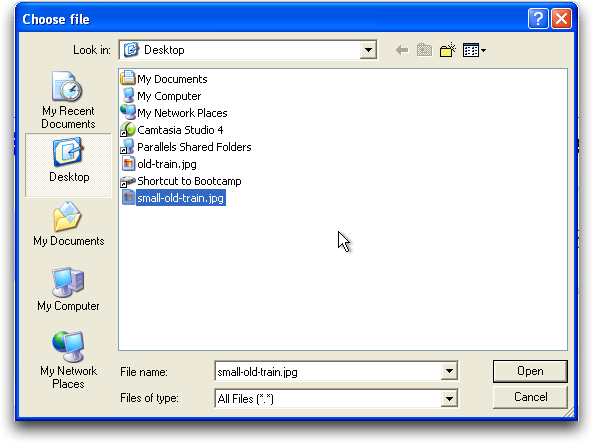 Photobucket upload: Windows file selection dialog
