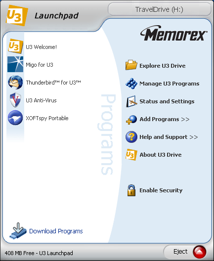 Memorex USB thumbdrive running U3 software