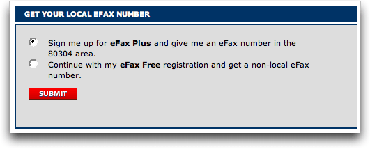 eFax: do you want a local number = eFax Plus