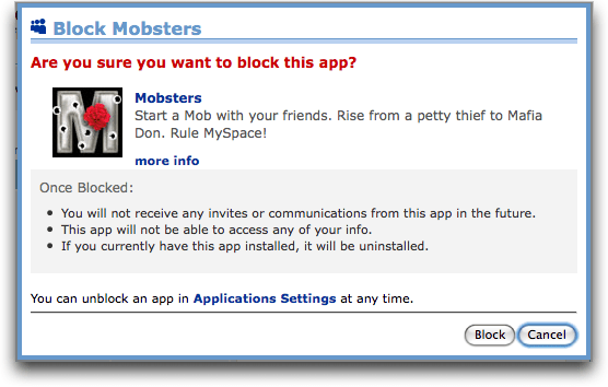 myspace app block mobsters