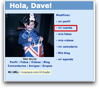MySpace: Spanish: Modificar