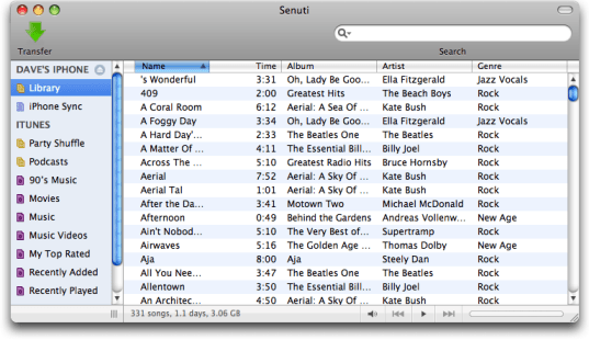 Mac iTunes Senuti: Apple iPhone Library