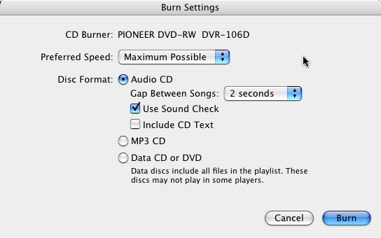 itunes burn disc settings