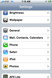 apple iphone settings scroll