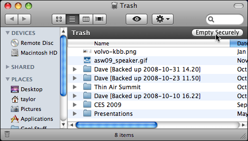 mac trash folder empty securely