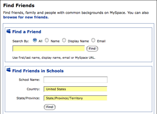 myspace find friends