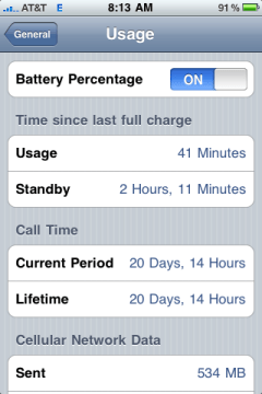 apple iphone battery percentage