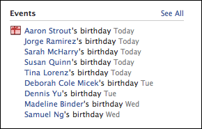 facebook friends birthdays