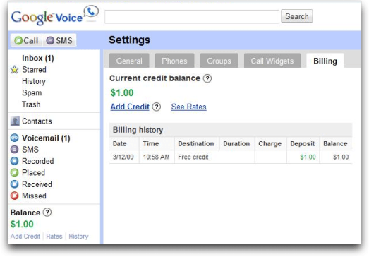 google voice settings balance