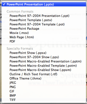 powerpoint save as file formats