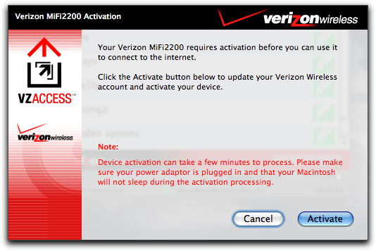 vzaccess manager mac mifi2200 activation