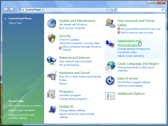 windows vista control panels appearance