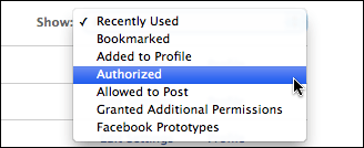 facebook settings application authorized