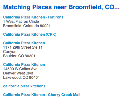 foursquare search results matching places