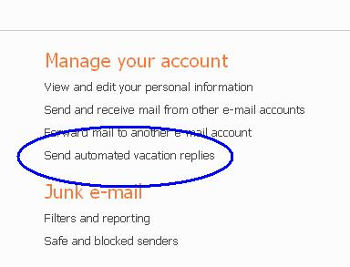 hotmail set vacation reply link