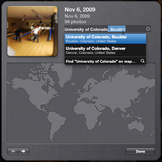 iphoto events geolocate