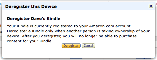 amazon manage your kindle deregister are you sure
