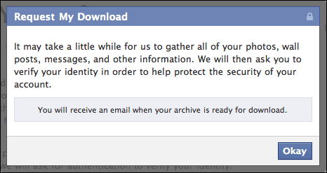 facebook download personal information 3