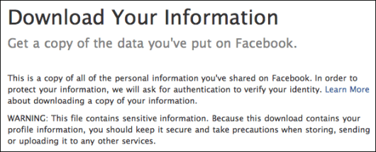 facebook download personal information 6