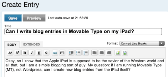 ipad movable type blogging entry looks good
