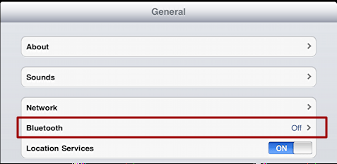 ipad setting general bluetooth