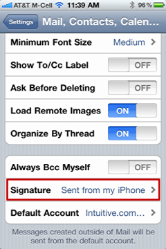 iphone change default email signature 3