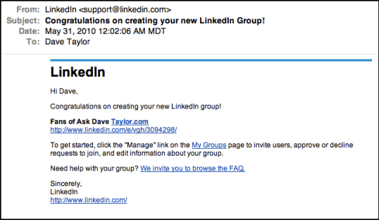 linked in groups create group email notification