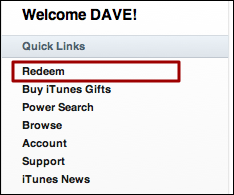 mac itunes quick links redeem