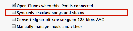 mac itunes sync settings ipod