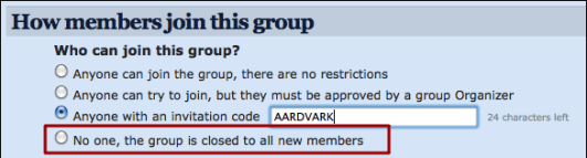 meetup organizer group settings member settings