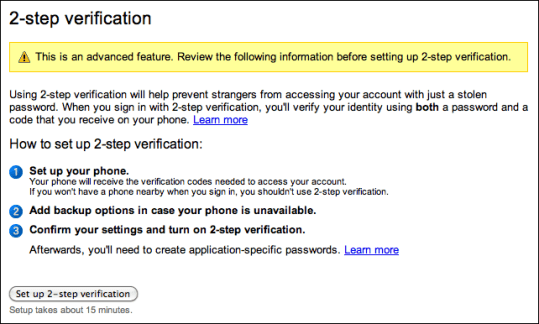 google gmail 2 step verification 2