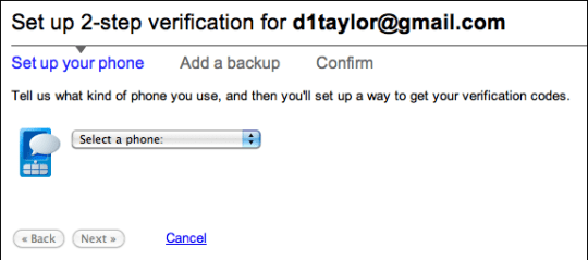 google gmail 2 step verification 3