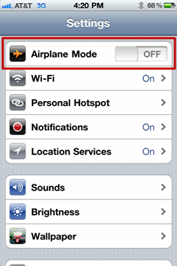 iphone airplane mode off