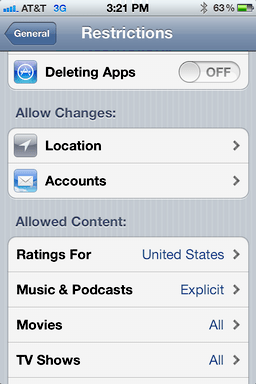 iphone ios user access restrictions 6