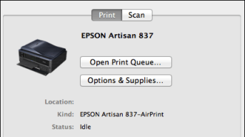 epson configured printer scanner mac os x
