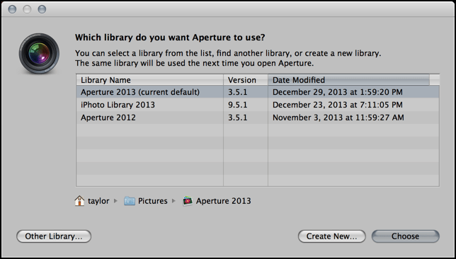 open create make new aperture library