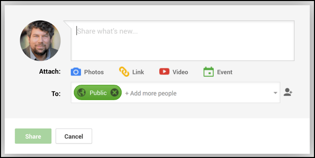 expanded google status share box window