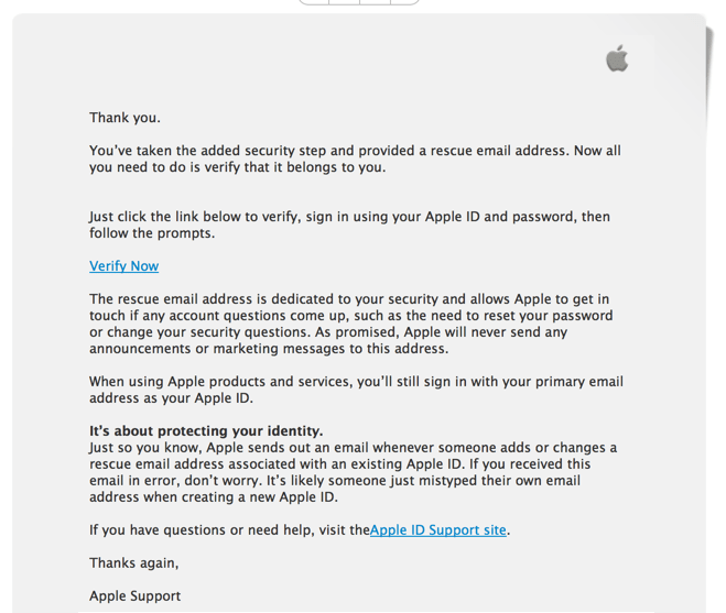Apple ID phishing email - looks legit