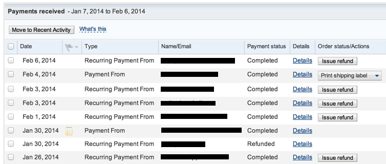 list of payments received