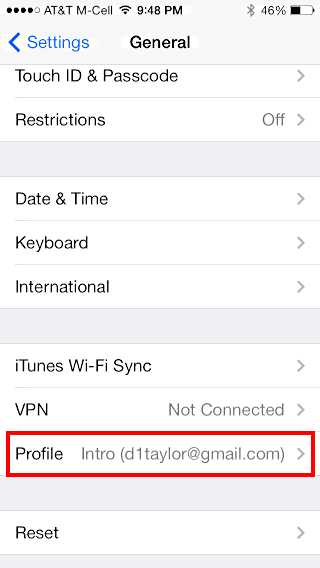 ios7 general settings PROFILE