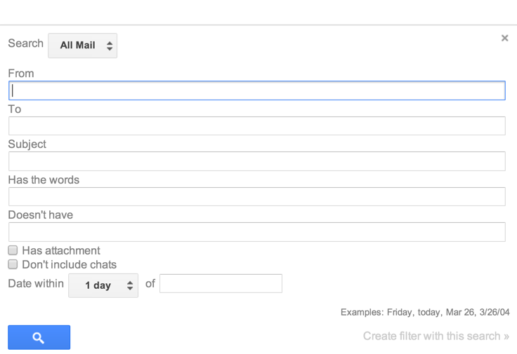 gmail advanced search wizard