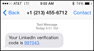 verification text message code received